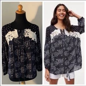 Loft Black & White top with embroidered appliqués